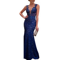 Sexy Women's Backless Long Prom Gown Straps Lace Party Formal V-Neck Dress Cocktail Vestidos