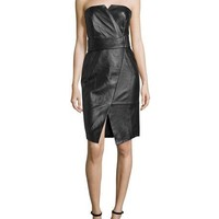 Camilla and Marc Strapless Leather Cocktail Dress, Black