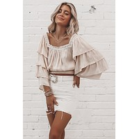 Show Me Off Cream Tiered Ruffle Sleeve Top