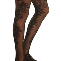 Black Floral Tights by Charlotte Russe
