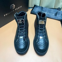 PHILIPP PLEIN  Trending Men Women Black Leather Side Zip Lace-up Ankle Boots Shoes High Boots