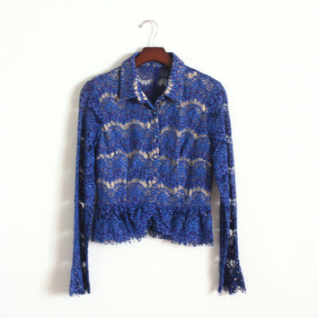 1970s Antique Lace Blouse Long Sleeve Peplum Blouse Sheer Crochet Top Collared Womens Button Up Blouse Royal Blue Top Classy Blouse