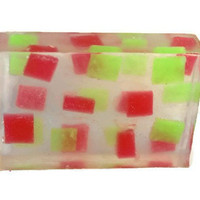 Christmas Soap - Christmas Soap Gift - Mosaic Soap - Red and Green Soap - Stocking Stuffer - Handmade Soap - Unique Soap - Christmas Favors