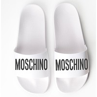 MOSCHINO Fashion Women Men Casual Letter Print Sandal Slipper Shoes White I13241-1