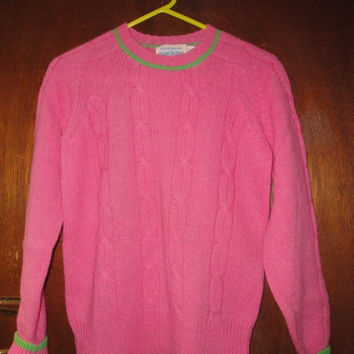 Womens Vintage Susan Bristol Cable Knit Pink Green Sweater Shetland Wool 36 Preppy Look