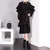 Abrams Ruffle Dress - Black