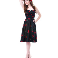 Stop Staring Black With Red Tulip SwingDress - Unique Vintage - Cocktail, Pinup, Holiday & Prom Dresses.