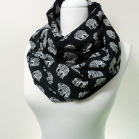 Elephant Pattern Infinity scarf, Black White Tube scarf, Circle scarf, Loop scarf, scarves, spring - fall - winter fashion