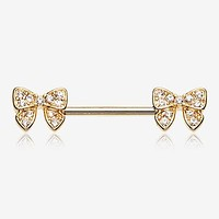 A Pair of Golden Dainty Bow-Tie Sparkle Nipple Barbell Ring