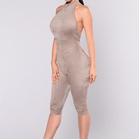 Shattered Glass Jumpsuit - Truffle