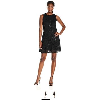 Tiana B Women's Sequence Lace Trapeze Dress with Bottom Flounce, Navy, 16