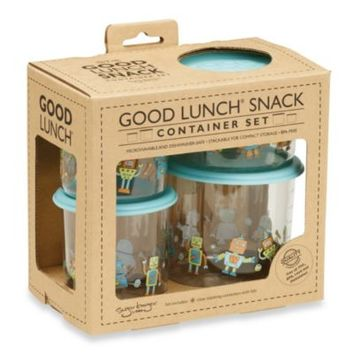 Sugarbooger® by o.r.e Good Lunch 4-Piece Snack Container Set in Retro Robot