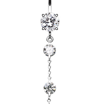 Triple Crystal Droplets Belly Button Ring