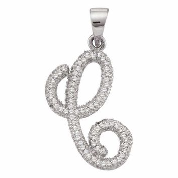 10kt White Gold Women's Round Diamond Cursive Letter C Pendant 1-5 Cttw - FREE Shipping (US/CAN)