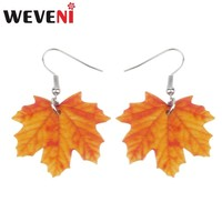 WEVENI Acrylic Novelty Maple Leaf Earrings Big Long Dangle Drop Fashion Season Plant Jewelry For Women Girls Ladies Accessories