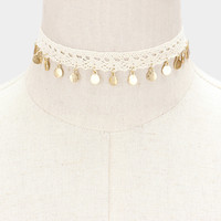 Metal Disc Charm Crochet Choker Necklace - White