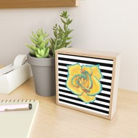 Yellow and Turquoise Rose on Stripes Framed Mini Art Print by drawingsbylam