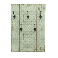 "27.5"" New Romance Distressed Finish Green and White Decorative Wall Mounted Coat Rack with Hooks"