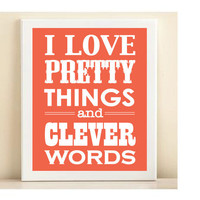 Coral Pretty Things & Clever Words print by AmandaCatherineDes