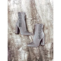 Grey Lace Booties