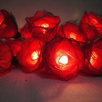 20 Red Rose Flower Fairy String Lights Wedding Party Patio for home decorations