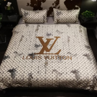 LV LOUIS VUITTON Soft Bedroom Microfiber Duvet Cover Sets, Printing Duvet Cover Set 3pcs Bed Sets