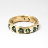 Catbird :: Polly Wales :: Wide Band - yellow gold, green sapphires
