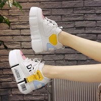 Woman Vulcanize Shoes Platform Autumn 2018 Breathable Sneaker Shoes Woman Color Block Thick Bottom Lady Casual Shoes Sneakers