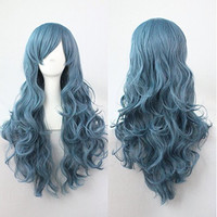 Ellena®Womens/Ladies 70cm Blue Color Long Curly Cosplay/Costume/Anime/Party/Bangs Full Sexy Wig (70cm Curly,Blue)