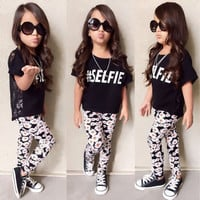 summer 2pcs suit !!toddler baby kids girls letter printed short sleeve tops daisy floral long pants outfits clothes 2-7T