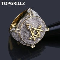 Iced Out Freemason Ring