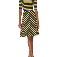 Belted Ponte Stripe Dress   Women's Dresses   THE LIMITED