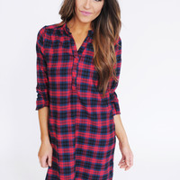 Flannel Tunic Dress- Red/Navy