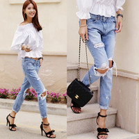 Light Blue Knee Hole Denim Pants