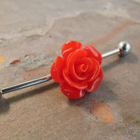 Red Rose Industrial Bar Barbell Piercing Upper Ear Ring