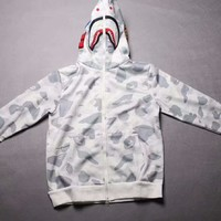 BAPE Fashion Unisex Graffiti Cotton Zipper Camouflage Sleeve Hooded Coat Sweater G-A-GHSY-1
