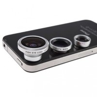 Fish Eye Lens, Wide Angle Lens + Macro Lens 3-in-1 Kit For iPad iPhone 4G (Wide Angle Lens and Macro Lens are connected together)