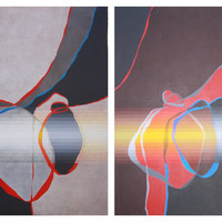 5 X 8 Foot Large Abstract Painting Gwen Norsworthy Diptych