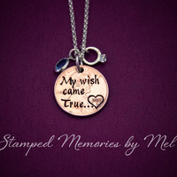 My Wish Came True - Hand Stamped Penny for Luck - Couple Necklace - Anniversary, Wedding, Engagement Gift - Personalized Year Heart Stamp
