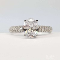 Ophelia 2CT Oval Cut IOBI Simulated Diamond Sterling Silver Platinum Plated Ring For Woman