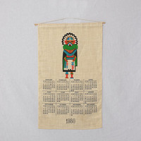 Vintage 1980 Hand Screened Indian Kachina Doll Fabric Calendar 80s Wall Hanging Western Art Kitsch Hippie Southwestern Home Decor