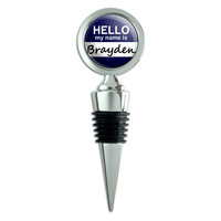 Brayden Hello My Name Is Wine Bottle Stopper