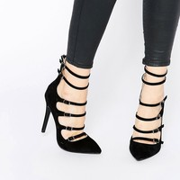 Public Desire Nessy Multi Buckle Heeled Court Shoes