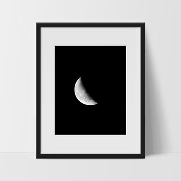 Moon Phase #2 Wall Art, Black and White Modern Art, Prints