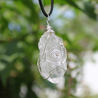 Clear quartz crystal pendant