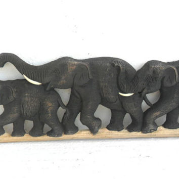 """Teak Wood Carving Of Three Elephants Family Natural Art Hand Carved Elephant Home Decor Wall Hanging / Gift 19""""X5.75"""""""