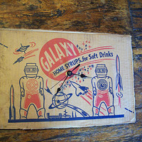 retro robot clock vintage 1950's Galaxy syrup tin toy packaging outer space kitsch