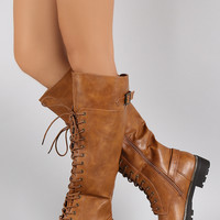 Buckled Combat Lace Up Lug Sole Knee High Boots