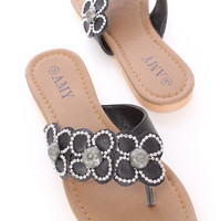 Black Beaded Floral Thong Sandals Faux Leather