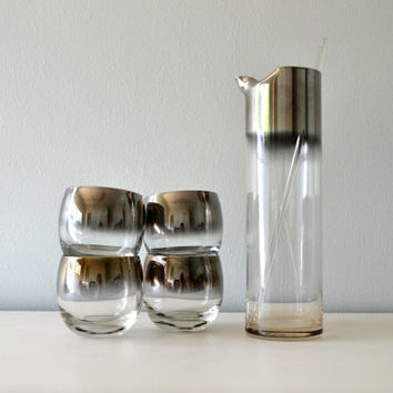 Vintage Mad Men Glasses, Silver Fade Roly Poly Glass Set, Cocktail Pitcher, Ombre Silver Rimmed Drinking Glasses, 1960s Barware, Stirrer